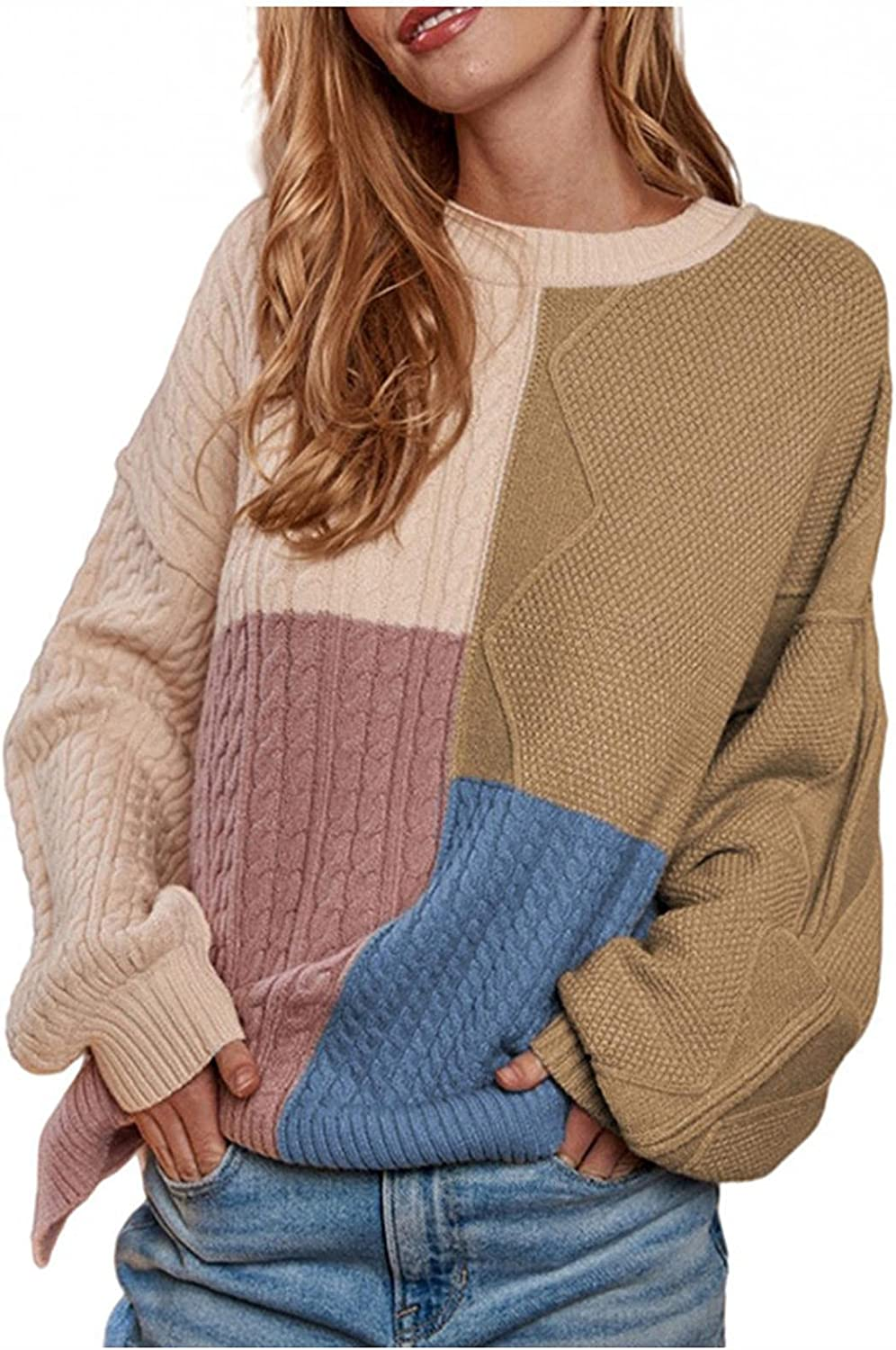 Oversized Sweaters for Women Color Block Patchwork Knitwear Lantern Sleeve O Neck Blouse Warm Casual Pullover