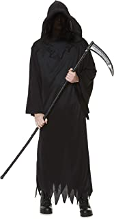 Grim Reaper Costume - Halloween Mens Hooded Death Dark Wizard Cloak
