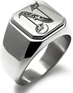 Stainless Steel Letter N Alphabet Initial Royal Monogram Square Flat Top Biker Style Polished Ring