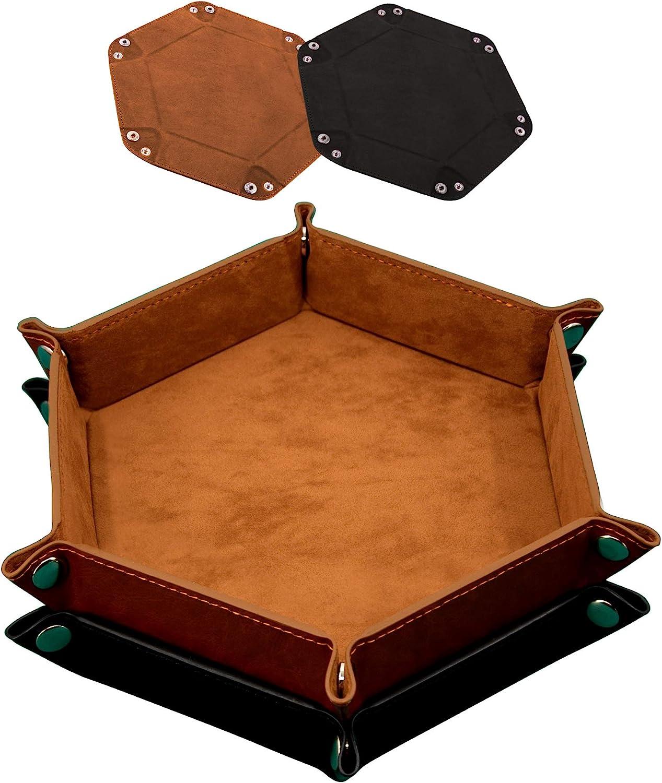 SIQUK 2 Pieces Dice Tray Hexagon 5 popular Leather Di PU Folding Rare