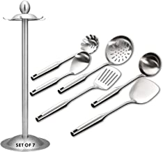Kitchen Utensil Set – 6 Piece Stainless Steel Cooking Utensils with Rotating Holder Organizer Includes Slotted Spoon, Slotted Spatula, Large Spoon, Soup Ladle, Spatula, Pasta Server Silver/7PCS