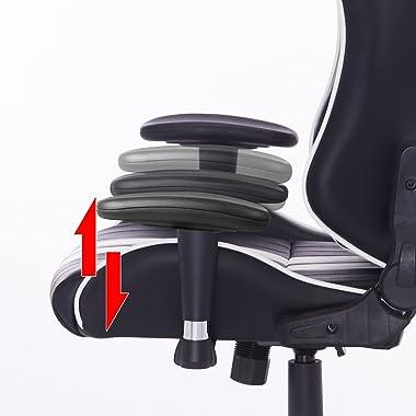 WOLTU® BS15ws Racing Chaise Sport Ergonomique Chaise de Bureau avec accoudoir réglable,Chaise de Gaming avec appuie-tête et O