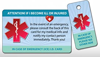 TLC Safety By Design Medical ICE Alert in Case of Emergency Allergy Safety I.D. Identification Plastic Wallet Card and Key tag with Emergency Contact Call Card
