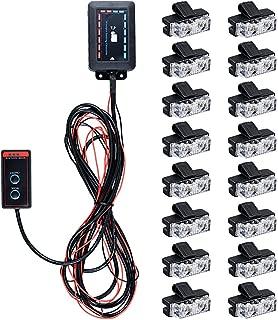 16x 2-LED Amber Emergency Warning Hazard Strobe Light Bar Kit w/ Clips for Truck Vehicle Car