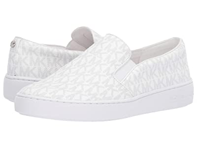 MICHAEL Michael Kors Keaton Slip-On (Bright White Mini MK Logo Coated Canvas/Nappa) Women