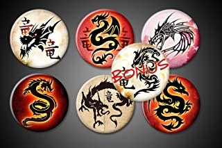 Tribal Dragons Magnets 1 inch round Set of 6 plus BONUS Kanji fire decorative mythical for fridge magnet boards white and black boards