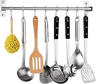 YHUS Porte-ustensiles de cuisine, barre de cuisine avec crochets S, support pour pots Bar Rack Cintre pour ustensiles de c...