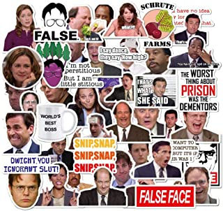The Office Merchandise Stickers Pack of 50 Office LaptopThemed Stickers , The Office Stickers for Water Bottles, Micheal Scott, Funny Laptop Decals, Hydro Flask Stickers