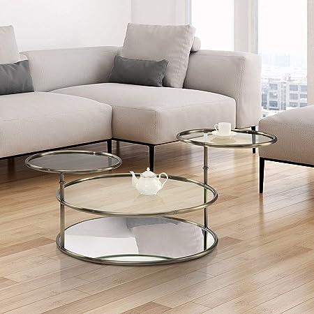 Amazon Com Furniture Of America Hora Modern Gold Glass Round Swivel Coffee Table Furniture Decor