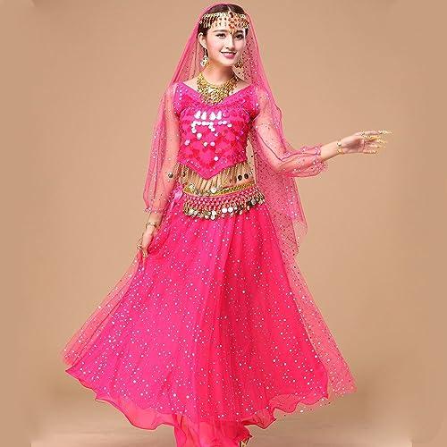 Wanson Professionnel Lady Belly Dance Costumes Jeux Indiennes Robe De Danse Perforhommece Robe De Danse Ventre Robe Rose 5-Pièce Ensemble