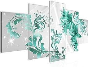 Vector bloemen wanddecoratie lelie - 200 x 100 cm canvas kamer appartement met uitzicht - klaar te hangen - 009451b