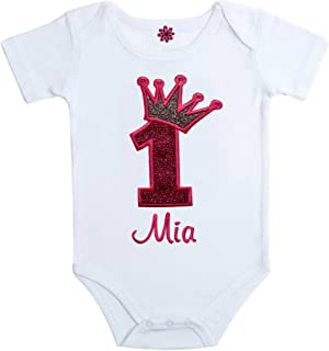 Birthday Girl Personalized Embroidered Sparkling Glitter 1st Birthday Bodysuit with Your Custom Name and Princess Crown