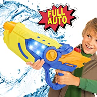 Electric Water Gun Squirt Guns Fully Automatic Water Blaster with Led Light High Capacity Long Range Waterproof Battery Cover for Kids Adult for Pool Party Outdoor Beach Water Fighting (Blue)