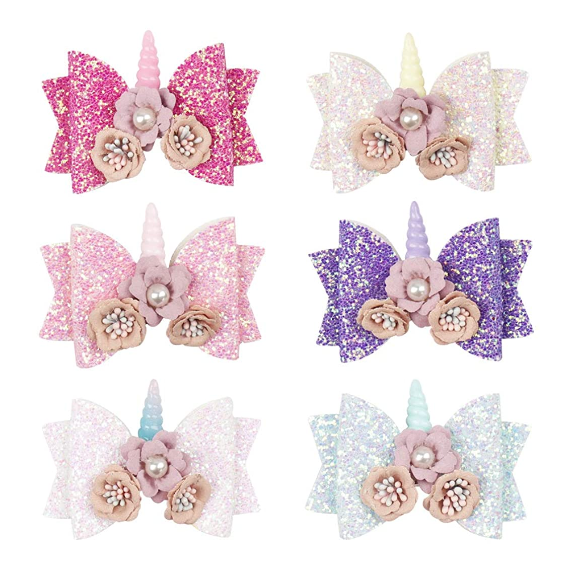6 pcs Glitter Hair Bows Boutique Hair Clips 4inch Princess Hairgrips for Kids Sequins Hair Pin Accessories (6 Pcs Flower Unicorn Bow Clip)