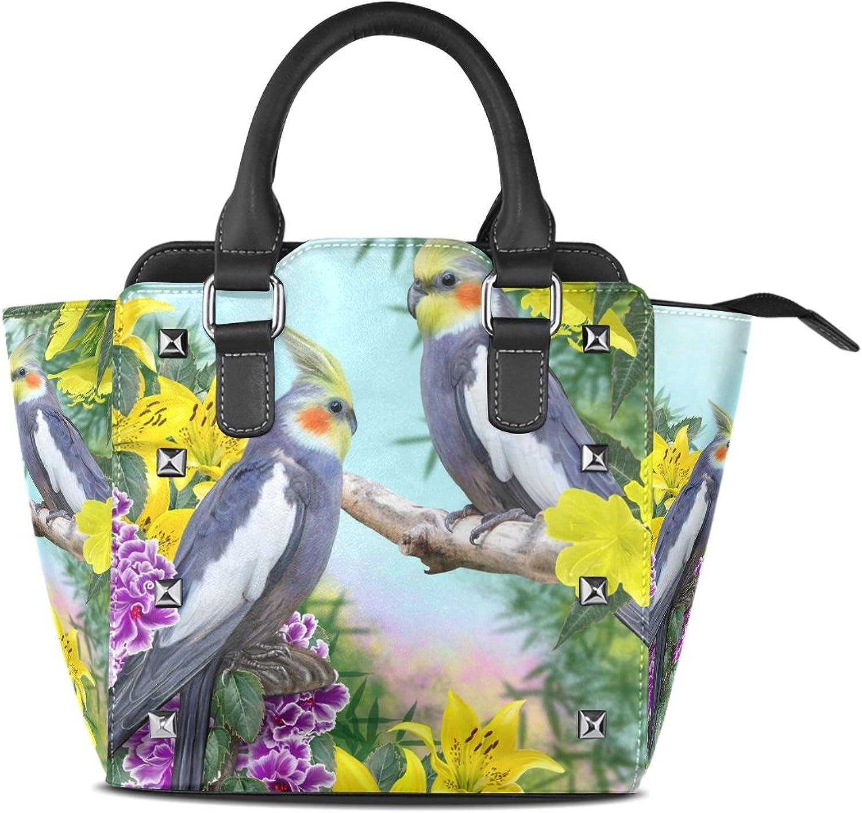 My Little Nest Women's Top Handle Satchel Handbag Two Parred Tropical Flowers Ladies PU Leather Shoulder Bag Crossbody Bag