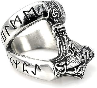 beldiamo Le Marteau de Thor Mjolnir Bague Runes Celtique Spirale 12/g Argent Sterling 925