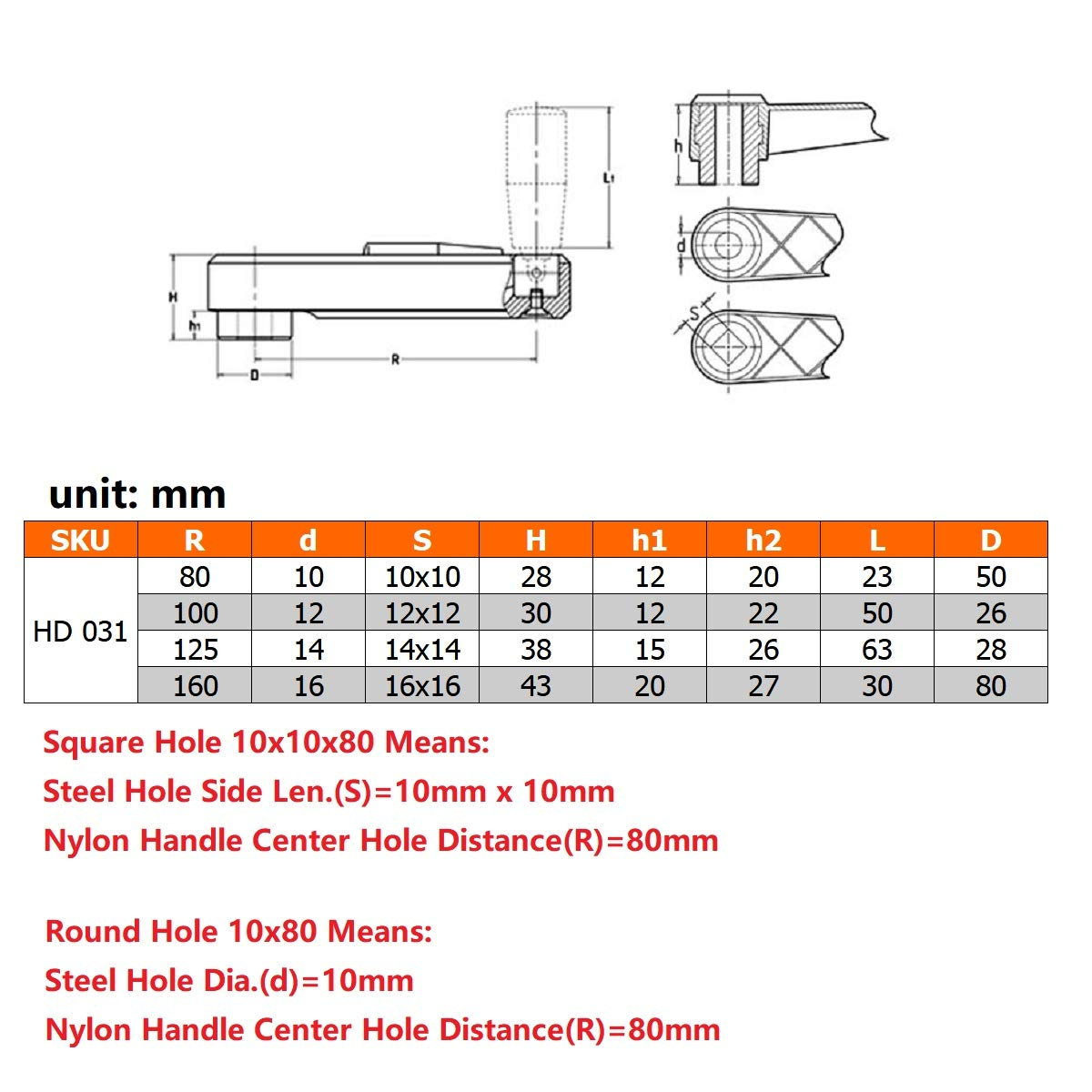 Square Hole 10x10x80 Nylon Hidden Folding Crank Handle with a Round or Square Installation Hole and a Foldable Revolving Handle 2pcs