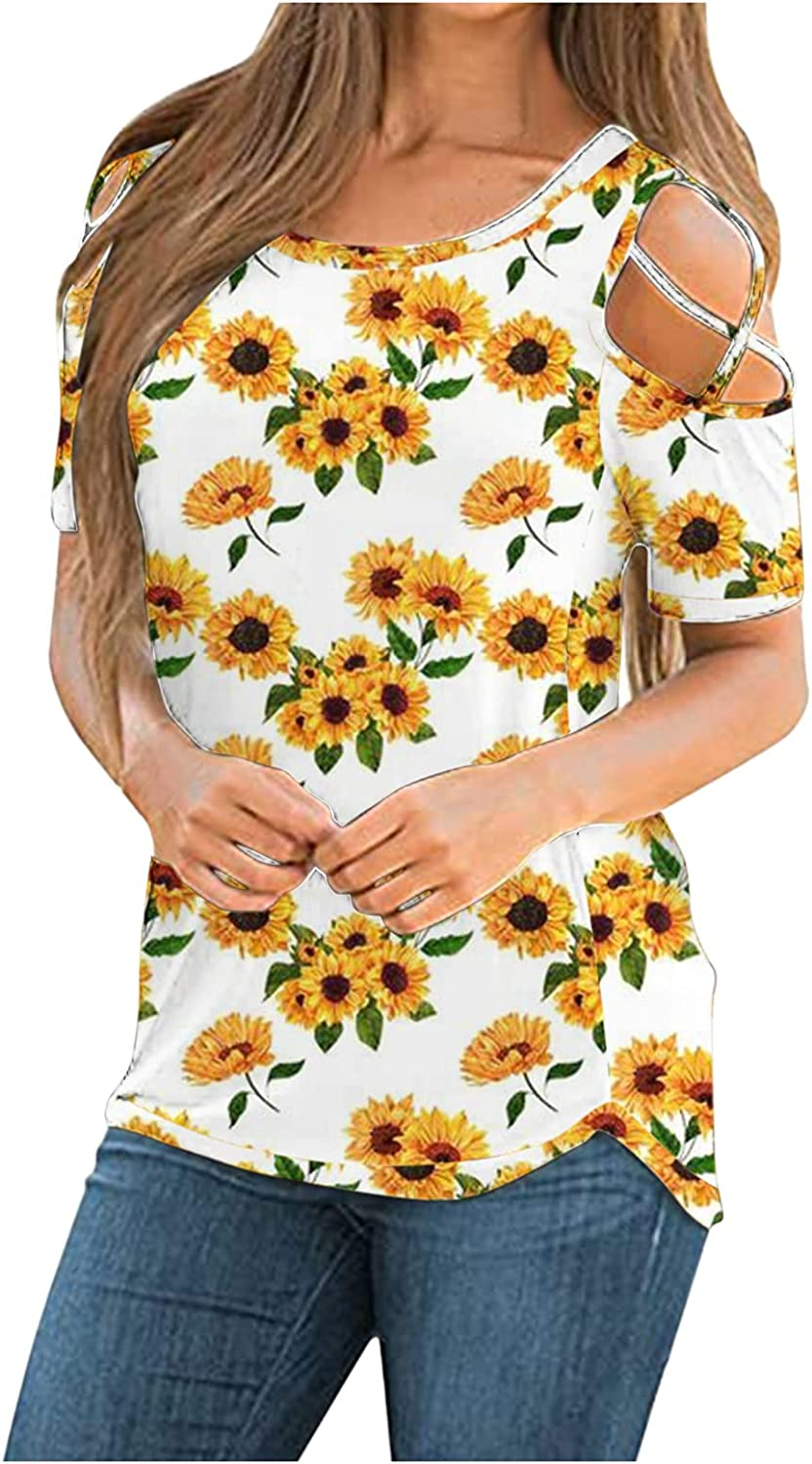 Womens Summer Tops,Womens Round Neck T Shirts Short Sleeve Loose Strappy Cold Shoulder Tunic Casual Basic Tees Tops