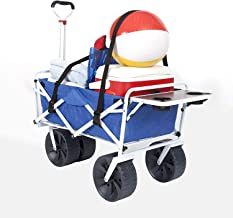 Mac Sports Collapsible Folding Beach Wagon with Side Table, Straps and Big Wheels Bundle | Holds 150lbs, Foldable Sand Cart, All-Terrain Utility Cart, Fold-Up Carts for Garden and Sports | Blue/White