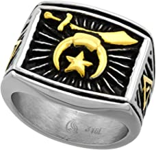 Stainless Steel Masonic Shriners Ring for Men Two Tone Rectangular 3/4 inch wide size 9-13