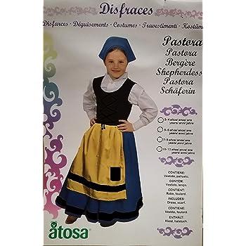 Disfraz DE PASTORA Infantil Talla 5-6 AÑOS , Vestido Y PAÑUELO ...