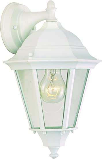 Maxim 1000wt Westlake Cast 1 Light Outdoor Wall Lantern White Finish Clear Glass Mb Incandescent Incandescent Bulb 60w Max Dry Safety Rating Standard Dimmable Glass Shade Material Rated Lumens Wall Porch Lights