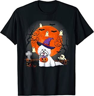 Bichon Frise Dog Witch Halloween Gifts T-Shirt