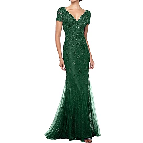 ec36bef3983 GMAR Mermaid Short Sleeves Mother The Bride Dresses Beaded Lace Evening  Gowns