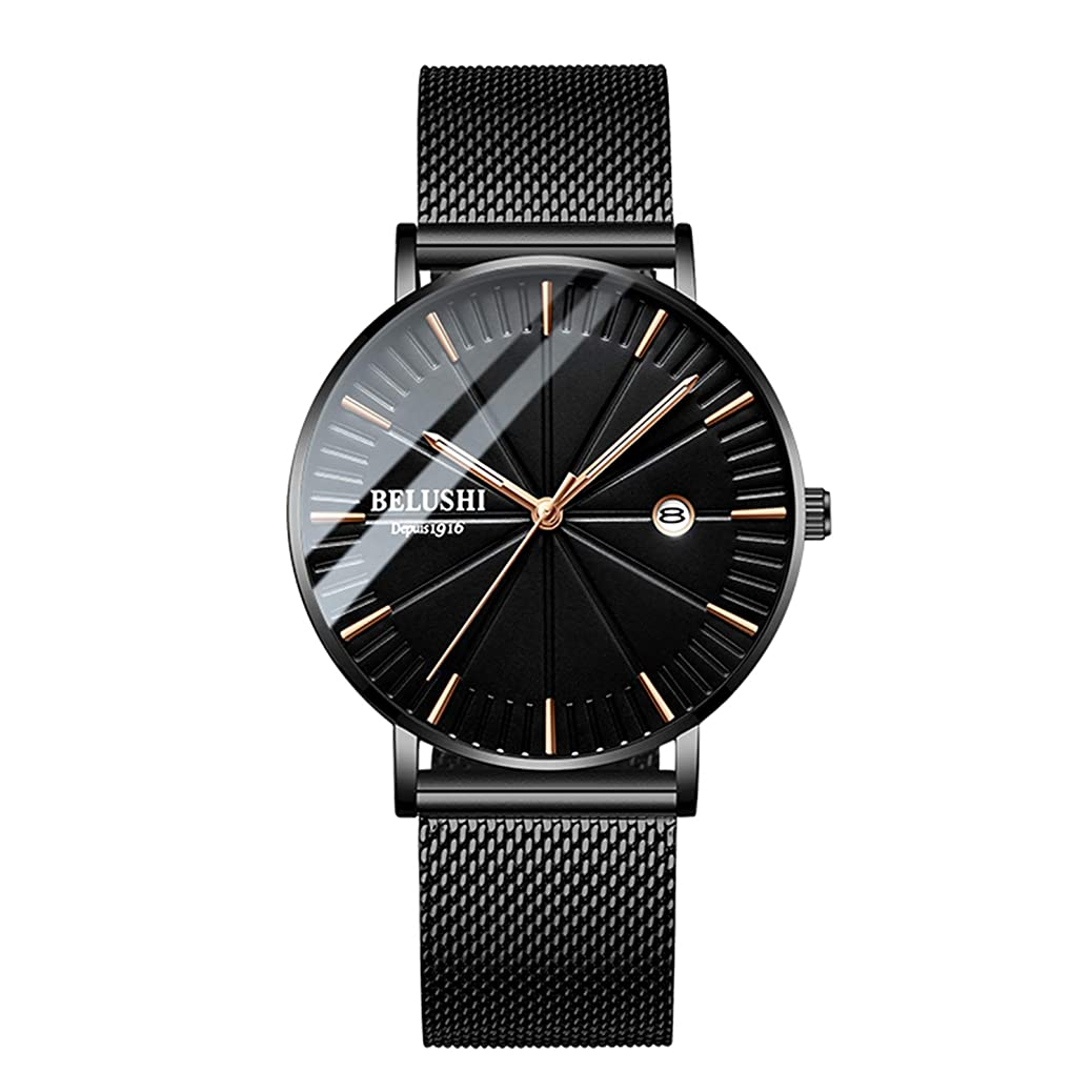 Men's Fashion Watch Simple Casual Analog Quartz Date with Black Milanese Mesh Band Minimalist Wrist Watches rurc8967124454