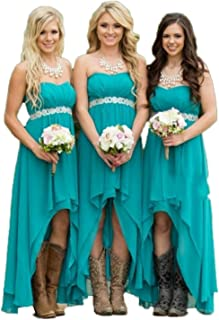 Fanciest Women' Strapless High Low Bridesmaid Dresses Wedding Party Gowns Turquoise