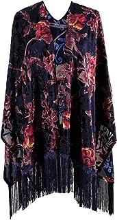 Sponsored Ad - Genovega Burnout Velvet Kimono Cover up - Women Floral Ruana Poncho Cardigan Dress with Fringe