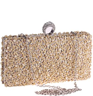 Ladies Beaded Pearl Decoration Party Clutch Crystal Rhinestone Evening Bag Chain Shoulder Bag Messenger Bag Black/Gold/Silver Size: 21 * 4.5 * 10cm Fashion (Color : Gold)