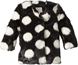 Polka Dot Faux Fur Coat (Infant)