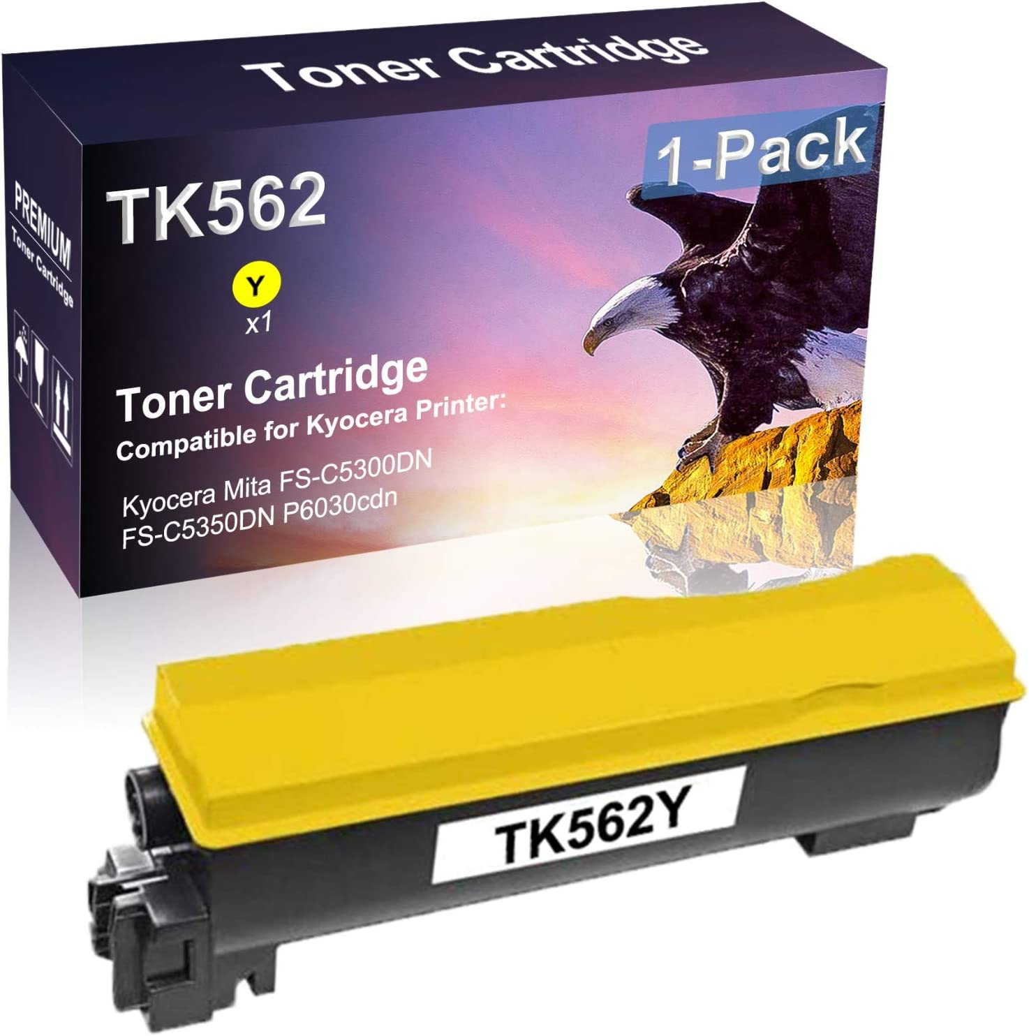 1-Pack (Yellow) Compatible High Yield TK562 | TK562Y Laser Printer Toner Cartridge Used for Kyocera Mita FS-C5300DN FS-C5350DN P6030cdn Printer