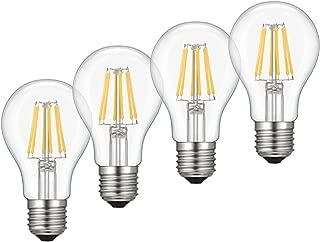Kohree Dimmable Edison LED Bulb, Soft Warm White 2700K, 6W Vintage LED Filament Light Bulb, 60W Incandescent Equivalent, A19 E26 Base Lamp for Restaurant,Home,Reading Room, 4-Pack