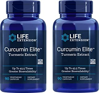 Life Extension Curcumin Elite Turmeric Extract, 90 Caps (Pack of 2)