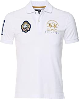 La Martina Men's Slim Fit Argentina Polo Shirt White