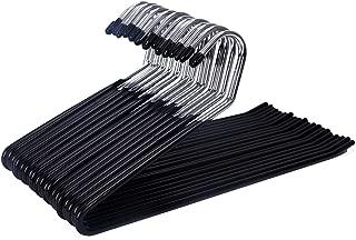 JS HANGER 20 Pack Open Ended Slacks Pant Hangers, Chrome and Black Friction, Non-Slip