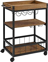 Benjara Wood and Metal Kitchen Cart with Caster Wheels, Black and Brown