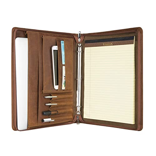 3fef621ba Vintage 3-Ring Binder Portfolio Handmade Crazy-Horse Leather Padfolio Case  Business Organizer Tablet