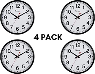 """Impecca Wall Clock Extra Large Classic Wall Clock, 3D Bold Clear Numbers, 18"""", Black, 4 Pack"""