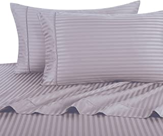 Royal Hotel's Striped Lilac 300-Thread-Count 4pc Full Bed Sheet Set, Sateen Striped, Deep Pocket, 100% Cotton