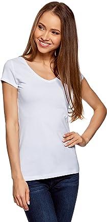 oodji Collection Femme T-Shirt Basique Col V sans Étiquette
