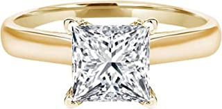 3.0 CT Princess Brilliant Cut Simulated Diamond CZ Solitaire Engagement Wedding Ring 14k Yellow Gold