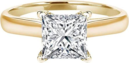 Clara Pucci 3.0 CT Princess Brilliant Cut Simulated Diamond CZ Solitaire Engagement Wedding Ring 14k Yellow Gold