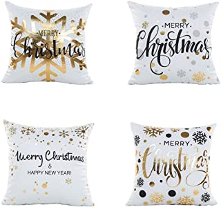 LEIOH Christmas Pillow Covers 4 Pack Gold Stamping Print Snowflakes Merry Christmas Decorative Sofa Throw Pillow Case Cushion Covers 18 X 18 Inch,Polyester Satin Fabric