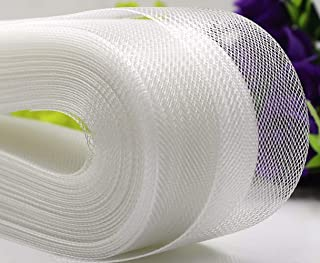 Polyester Boning Stiff Horsehair Braid for Sewing Wedding Dress Dance Gowns Dress Accessories, White (2 Inch 50 Yard)