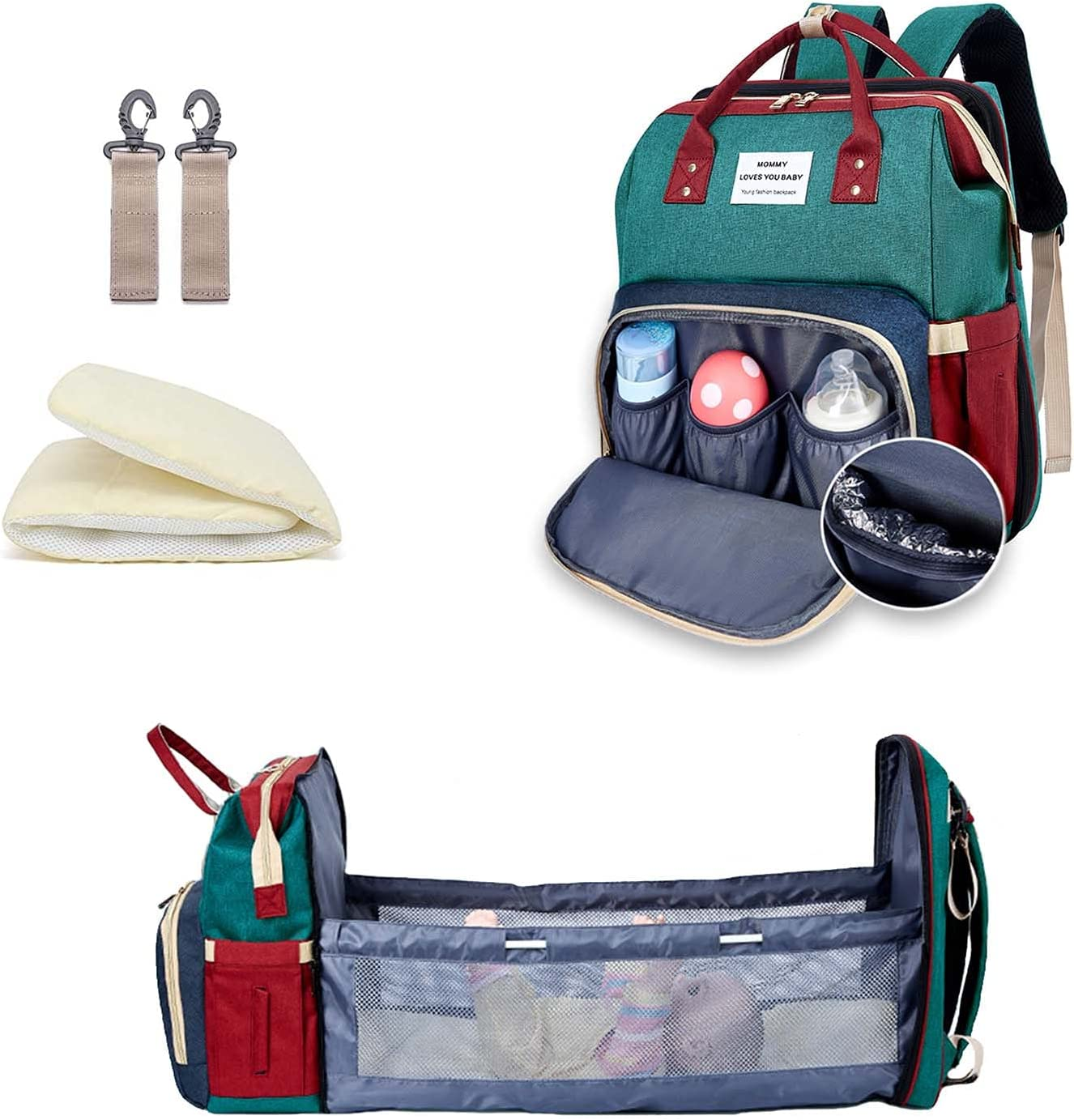 Diaper Bag Backpack , Amenpoki Diaper Bag with Changing Station,3 in 1 Nappy Baby Diaper Backpack with Bassinet, Multifunction Portable Travel Bag Backpack for Baby with Stroller Large Capacity