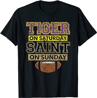 Mens Tiger on Saturday Saint on Sunday Louisiana Football Gift T-Shirt