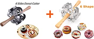 FCOZM 2 set Metal Revolving Donut Cutter Maker Machine Mold Pastry Dough Baking Roller For Cooking Baking